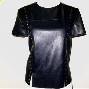 DO+ BE  Faux Leather Studded Top NWT